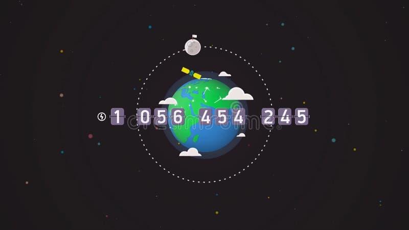 UFO del vuelo con un lugar para el mensaje en el globo de la tierra en el fondo del espacio exterior, animación de la historieta  ilustración del vector