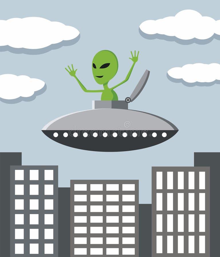 UFO in der Stadt lizenzfreie abbildung