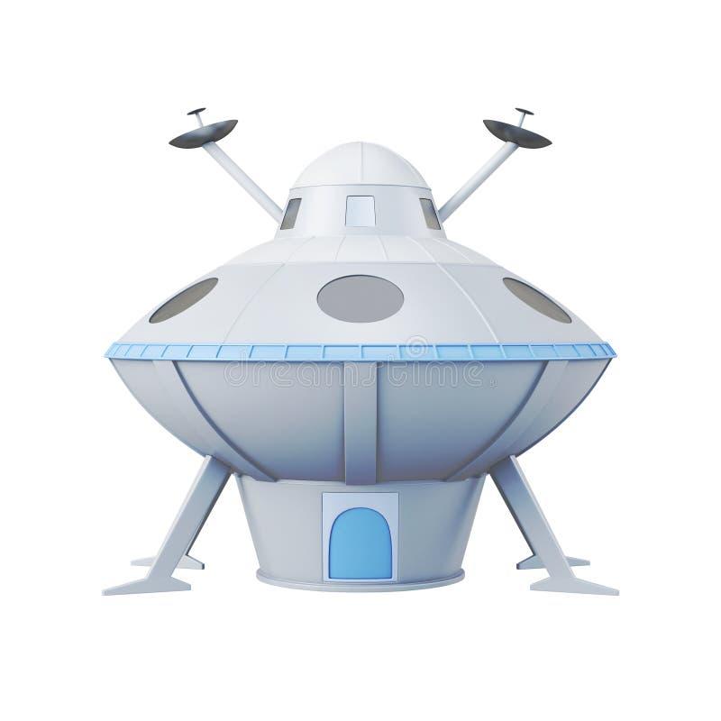 Ufo die op witte achtergrond wordt geïsoleerd het 3d teruggeven vector illustratie
