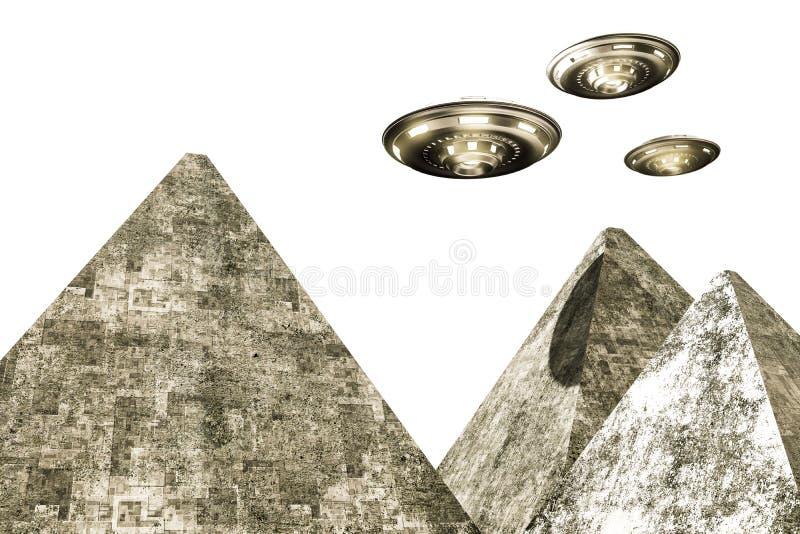 Ufo die over piramides vliegen stock illustratie