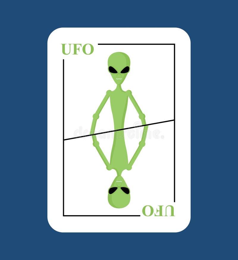 UFO do cartão de jogo Estrangeiro novo conceptual do cartão Invasor verde do espaço ilustração royalty free