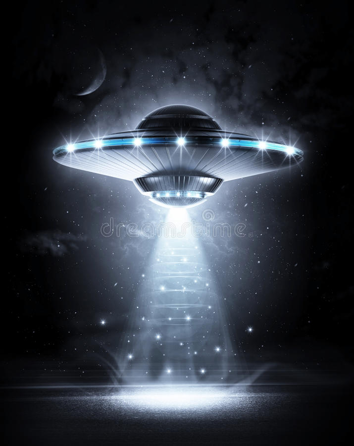 UFO in donkere nacht royalty-vrije illustratie