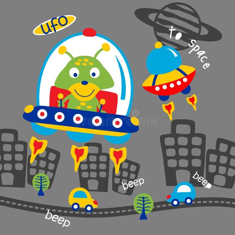 UFO e historieta animal divertida extranjera, ejemplo del vector ilustración del vector