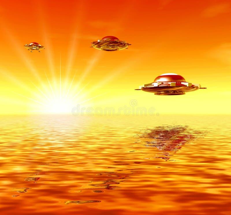 UFO e raggi pieni di sole royalty illustrazione gratis