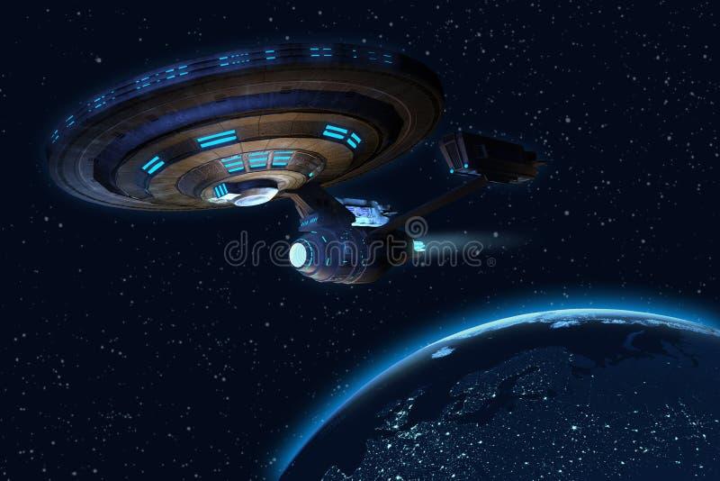 UFO & earth royalty free illustration