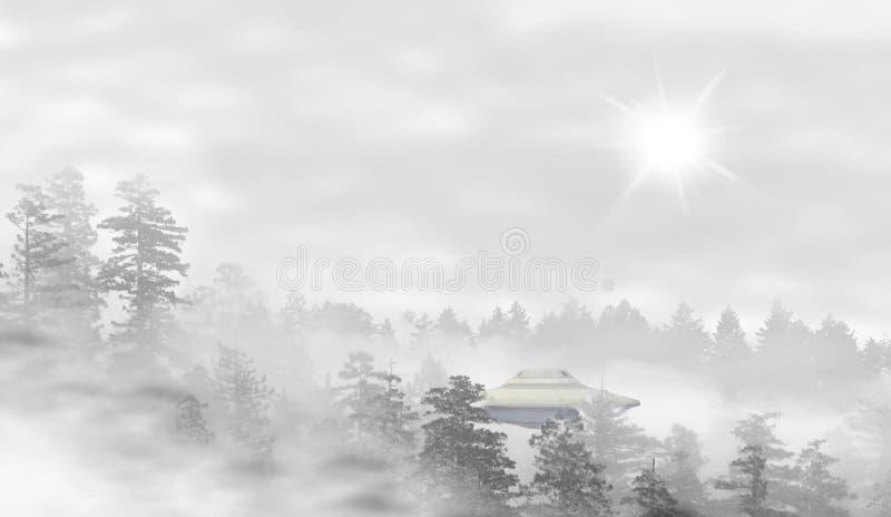 UFO in een landschap van nevelig bos bij zonsopgang vector illustratie