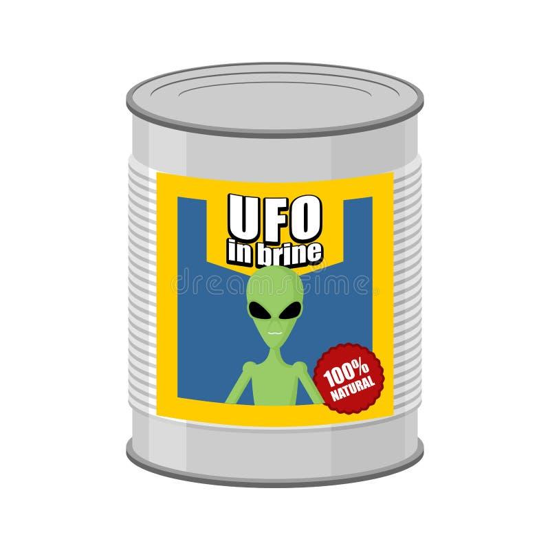 UFO en boîte Étranger de boîte en fer blanc Illustration de vecteur illustration libre de droits