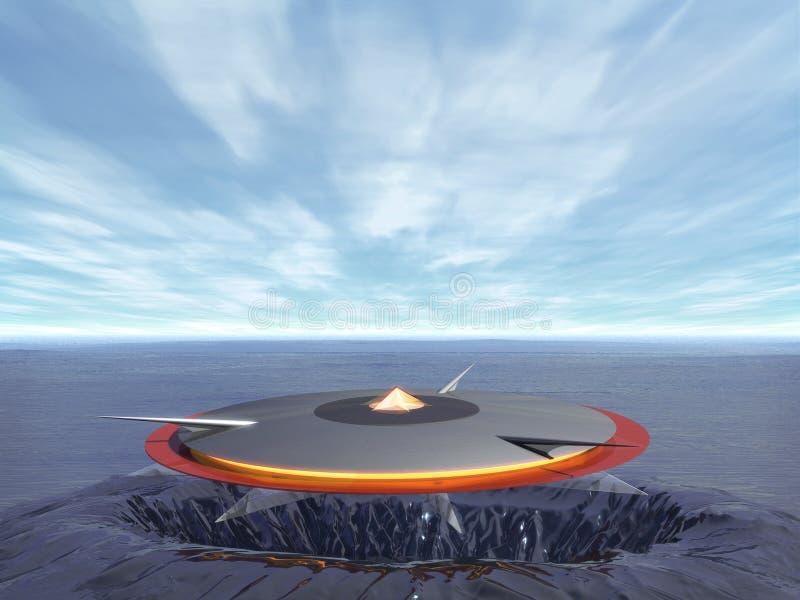 UFO en el mar stock de ilustración