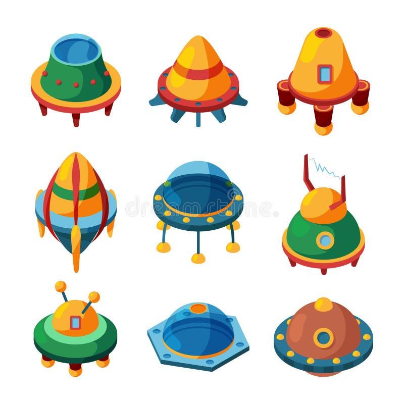 Ufo en spaceships Isometrische vectordieUFOpictogrammen op wit worden geïsoleerd stock illustratie