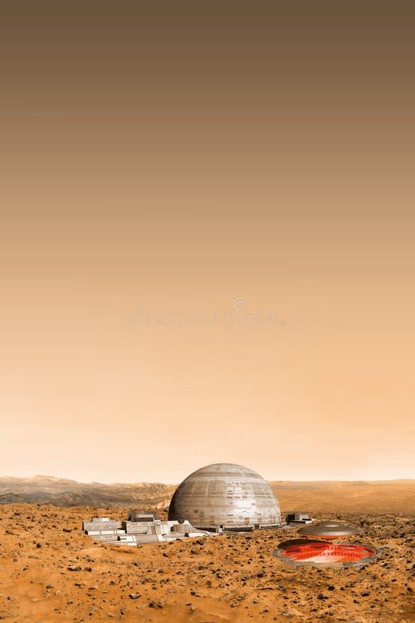 UFO en vreemde basis op Mars vector illustratie