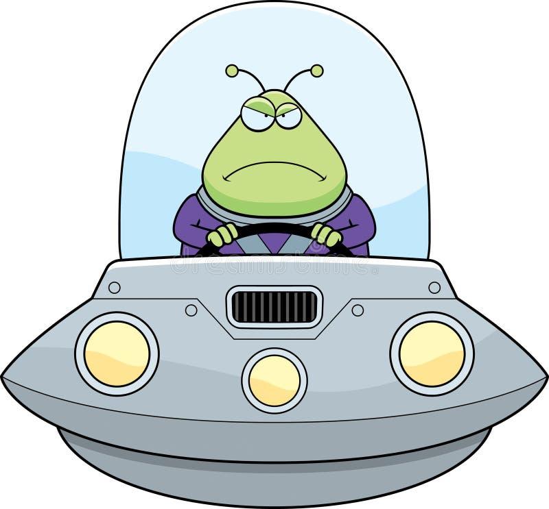 UFO enojado del extranjero de la historieta stock de ilustración