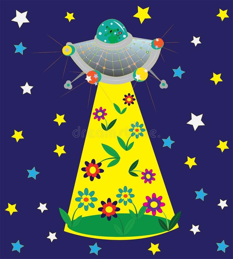 UFO et clairière des fleurs. illustration stock