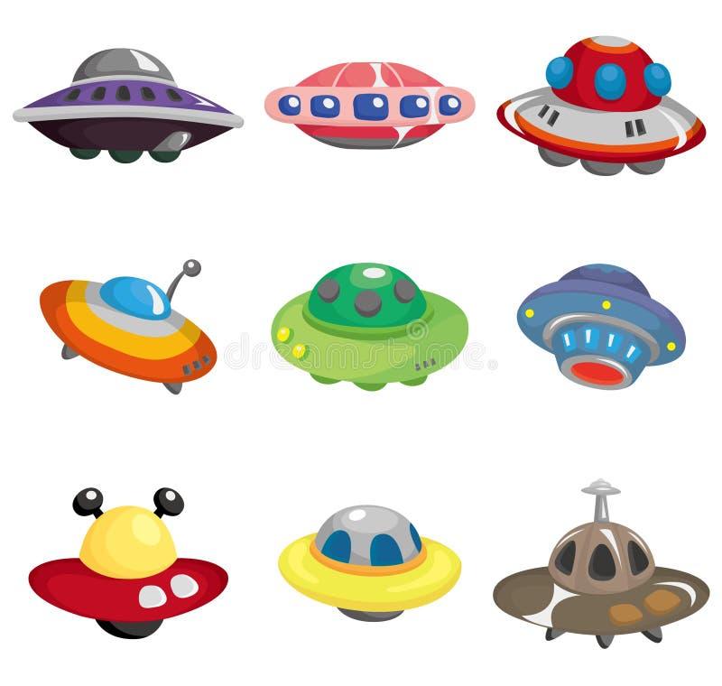 ufo för spaceship för tecknad filmsymbol set royaltyfri illustrationer