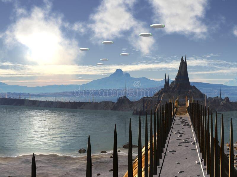 ufo för stadsinvasionsilikon stock illustrationer