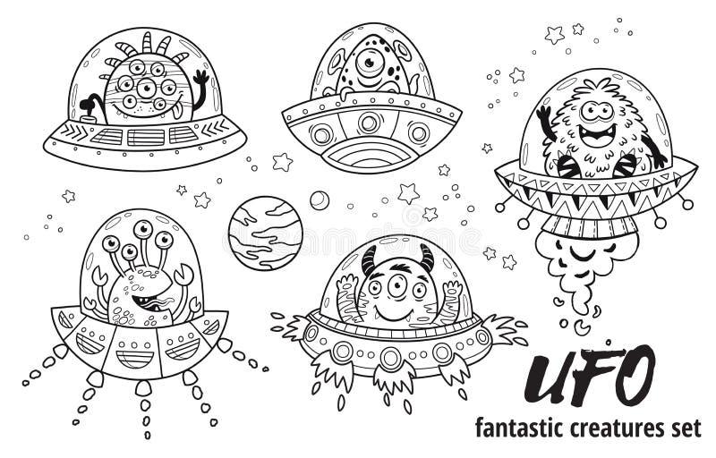 UFO Fantastische die schepselen in overzicht worden geplaatst Vector illustratie Kleurend boek royalty-vrije illustratie