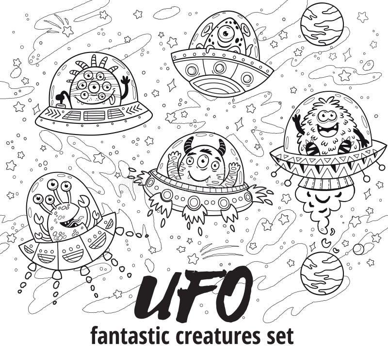 ufo Fantastisk varelseuppsättning i översikt också vektor för coreldrawillustration för färgläggningdiagram för bok färgrik illus vektor illustrationer