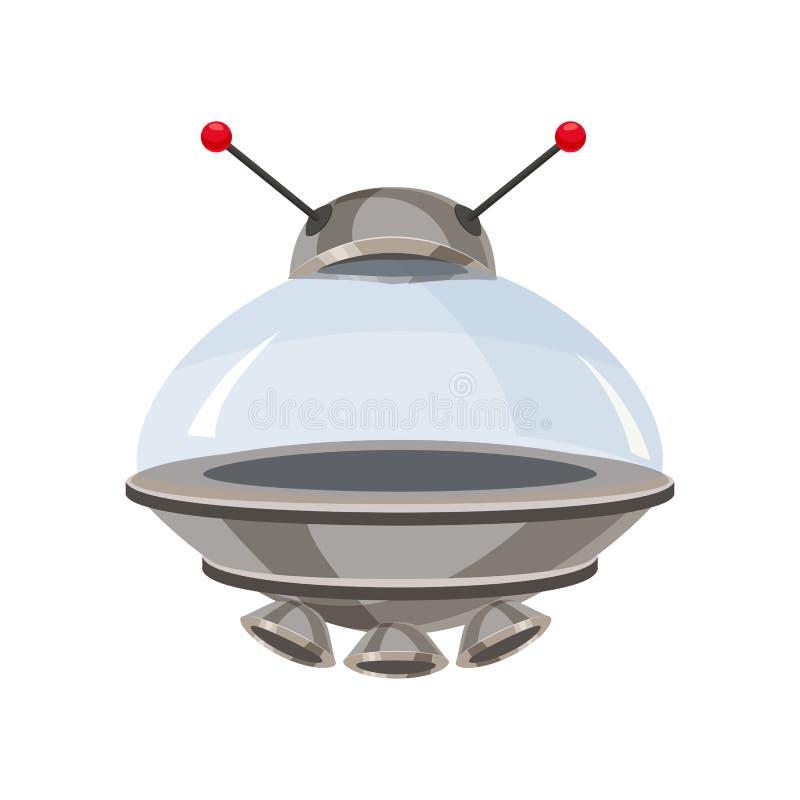 UFO-Fliegenraumschiff lokalisiert auf weißer Karikaturart Ausländischer Transport futuristisch Vektorillustration, baner, Plakat vektor abbildung