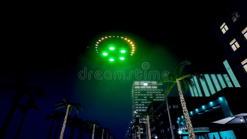 UFO fliegt über die Nachtstadt Wiedergabe 3d stock abbildung