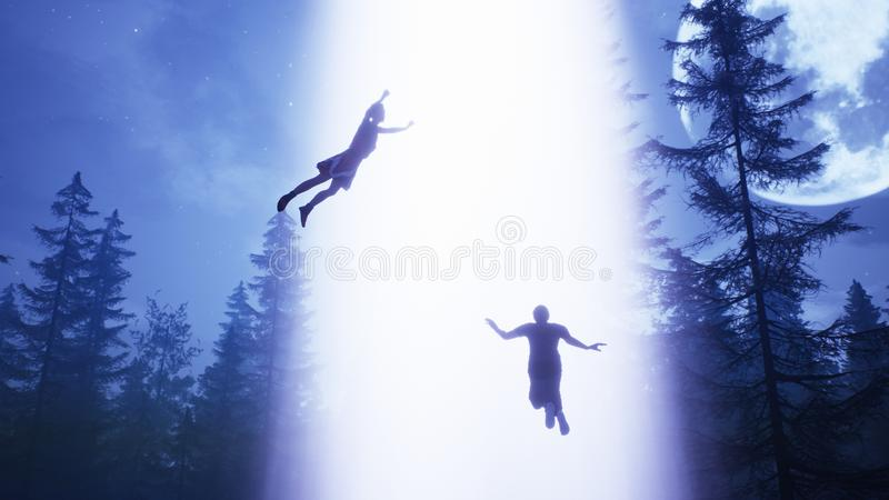 UFO flies over the forest and scans the house. 3D Rendering. UFO flies over the forest and scans the house stock image