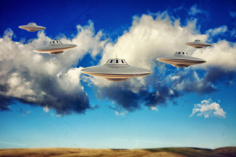 Ufo-flyg stock illustrationer