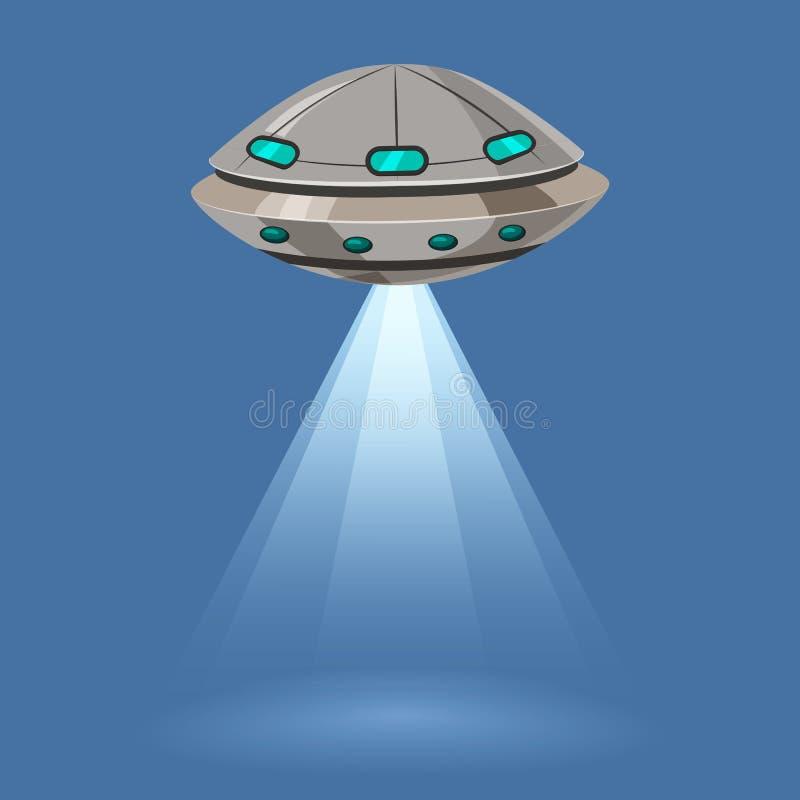 Ufo-flygrymdskeppet som isoleras på blå bakgrund, strålar tänder, tecknad filmstil, vektorillustration Begrepp mall stock illustrationer