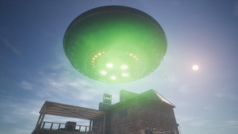 UFO is flying over the house in the desert. 3D Rendering. UFO is flying over the house in the desert royalty free stock images