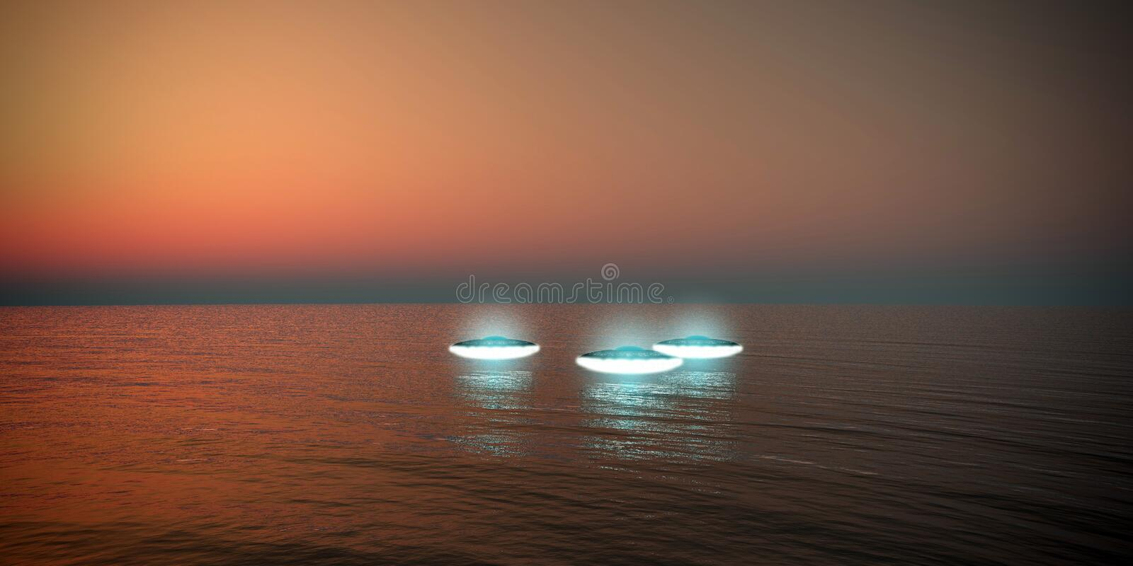 Ufo flying over the sea stock illustration