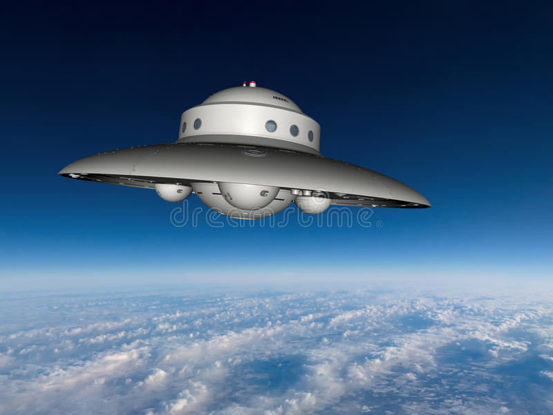 UFO Flying Saucer Above Earth. A UFO or unidentified flying object. The flying saucer is above the earth and clouds going through a blue sky. Watch out for space stock image
