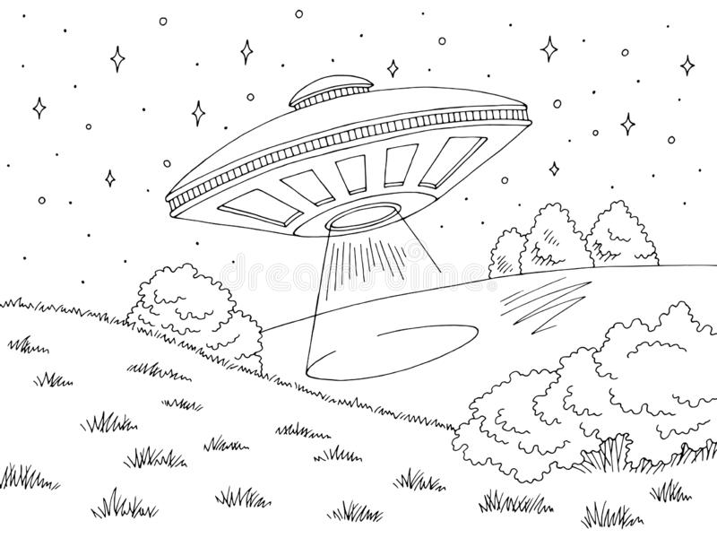 UFO flying under hill graphic black white landscape sketch illustration vector vector illustration