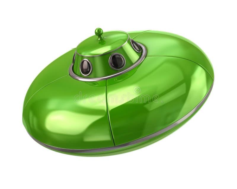 UFO - groene vreemde ruimteschip 3d illustratie vector illustratie