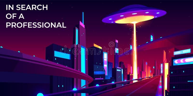 Ufo het huren bij nachtstad, zoekt beroeps stock illustratie