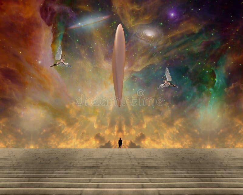 UFO i aniołowie ilustracja wektor