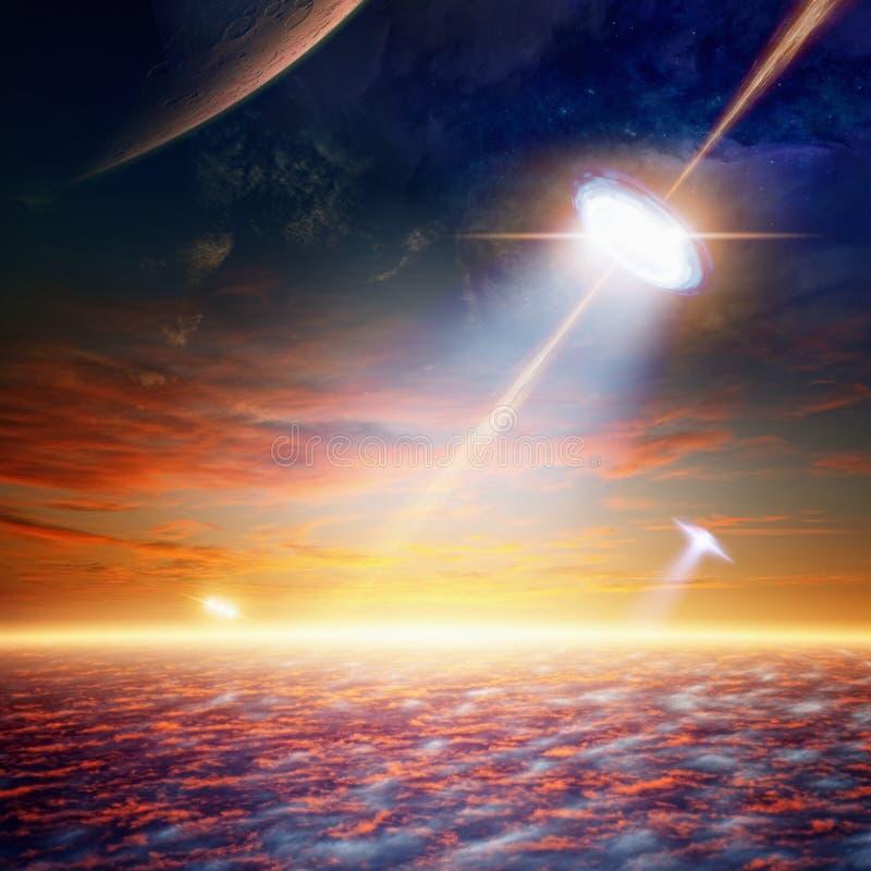UFO i Sky royaltyfri foto