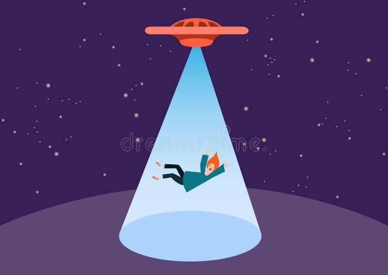 UFO i teleportuje promień UFO uprowadza osoby, wektor Kobieta kraść obcymi royalty ilustracja