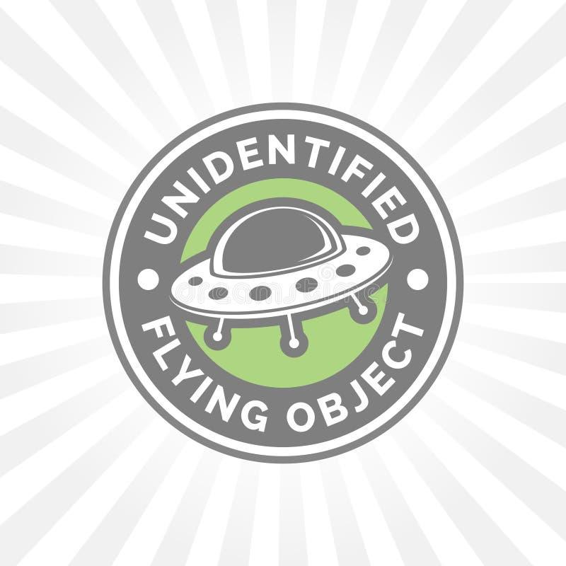 UFO ikona Niezidentyfikowanego latającego przedmiota odznaka Latającego spodeczka przestrzenie royalty ilustracja