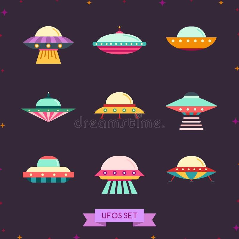 UFO ikony płaski set Czysty i prosty projekt royalty ilustracja