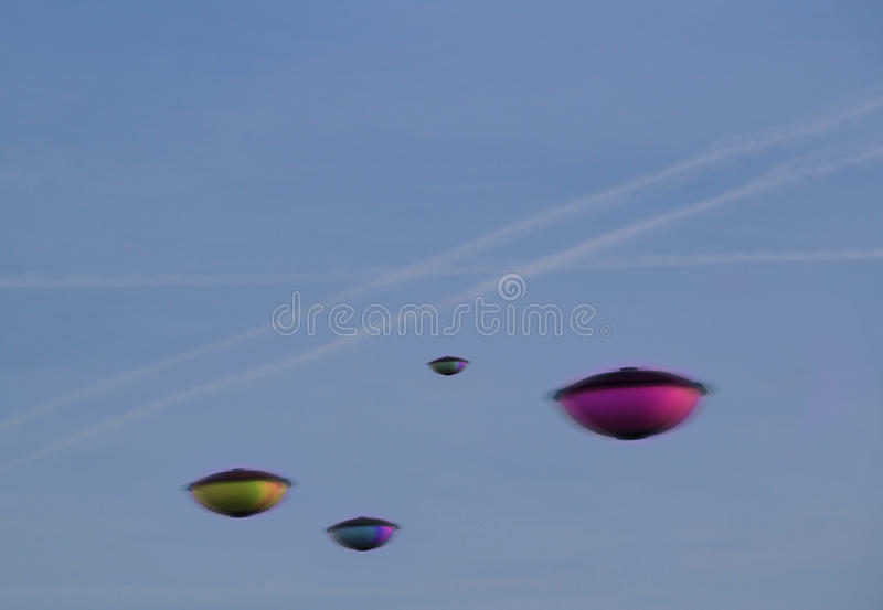 Ufo invasion. Photo of fleet of ufo`s spotted close to where chemtrails have been sprayed in the sky over kent taken 13th march 2017 stock photography