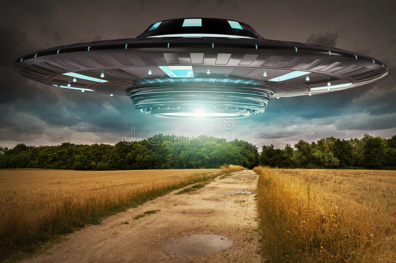 UFO invasion on planet earth landascape 3D rendering stock illustration