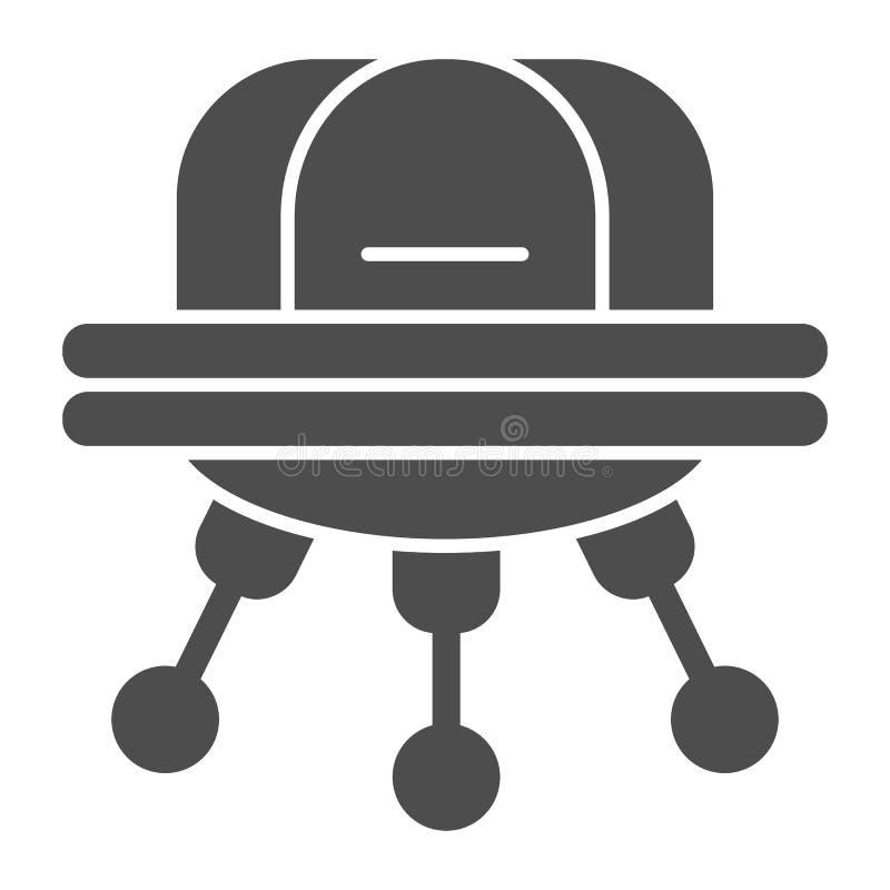 UFO-Körperikone Außerirdischevektorillustration lokalisiert auf Weiß Raumschiff Glyph-Artentwurf, bestimmt für Netz und vektor abbildung