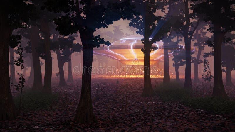 UFO lądowanie w lesie przy nocą, fantastyka naukowa scena z obcą statku kosmicznego 3d przestrzeni ilustracją ilustracja wektor