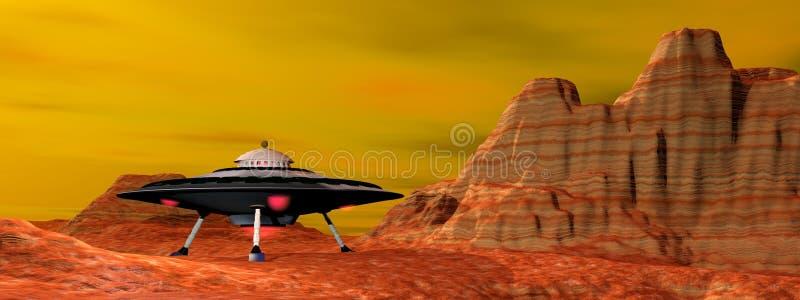 UFO landed - 3D render vector illustration