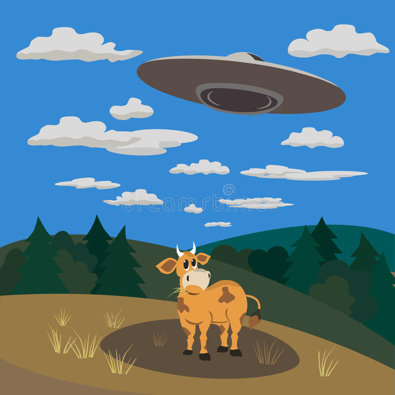 UFO landing concept. UFO abducts a cow .Flying saucer beam picks up animal from earth planet. Illustration of alien invasion in unidentified spaceship. Idea for stock illustration