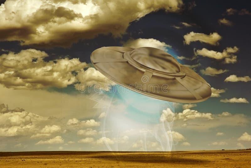 UFO-Landung lizenzfreie abbildung