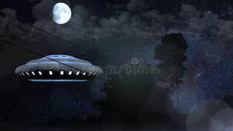 UFO lata nad noc lasem, Abstrakcjonistyczny tła 3D rendering ilustracja wektor