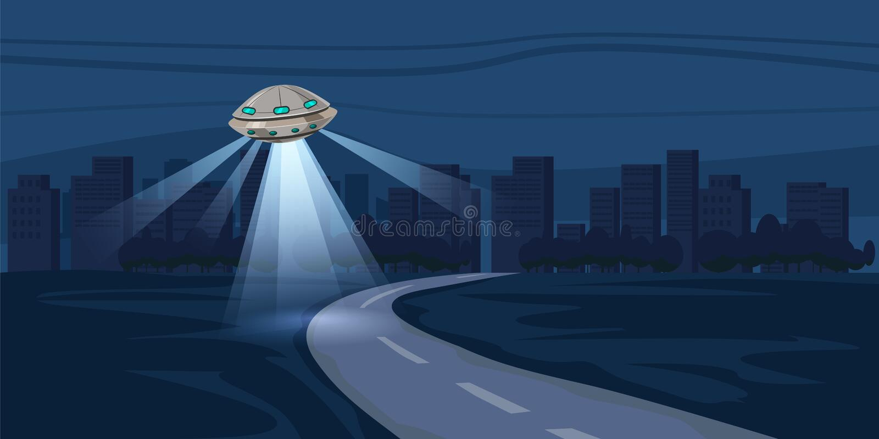 UFO lata nad nocy miastem, metropolia, domy, drapacze chmur wektorowi, drogi, ilustracja ilustracji