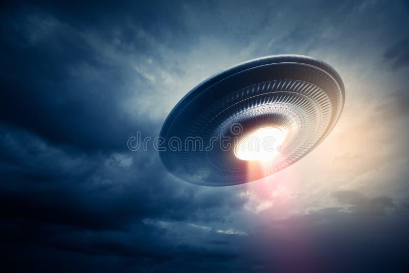 UFO latanie w niebie ilustracji