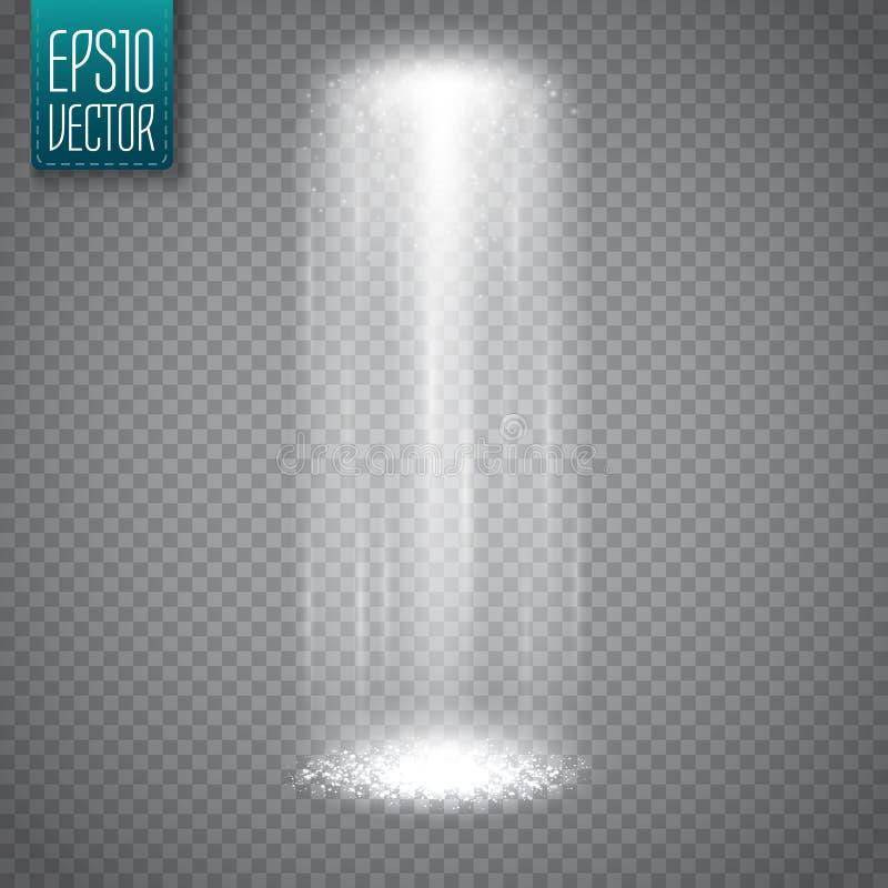 UFO lekki promień na przejrzystym tle Magiczny światło reflektorów wektor obraz stock