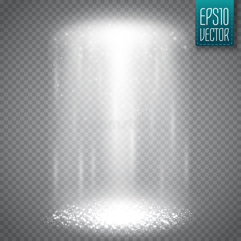 UFO lekki promień odizolowywający na transparnt tle wektor ilustracji
