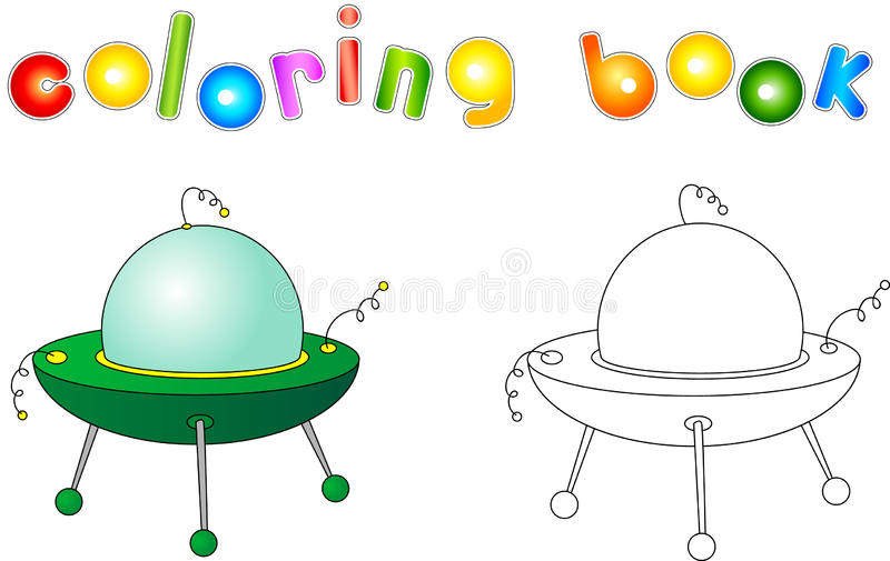 UFO with light beam. Flying saucer. Coloring book for children a vector illustration