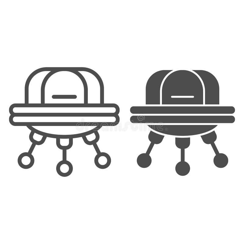 UFO-Linie und Glyphikone Außerirdischevektorillustration lokalisiert auf Weiß Raumschiffentwurfs-Artdesign, entworfen vektor abbildung